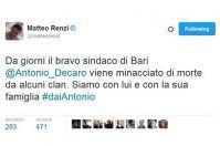 Decaro minacciato, la solidarietà di Renzi arriva via Twitter