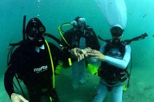 Scambio di fedi sott'acqua, la festa alternativa di due sposi brindisini