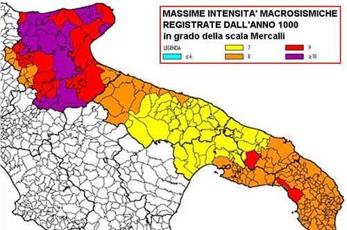 Terremoti, anche alcune aree della Puglia a rischio sismico