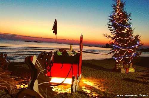 Porto Cesareo, in spiaggia spunta l'albero di Natale