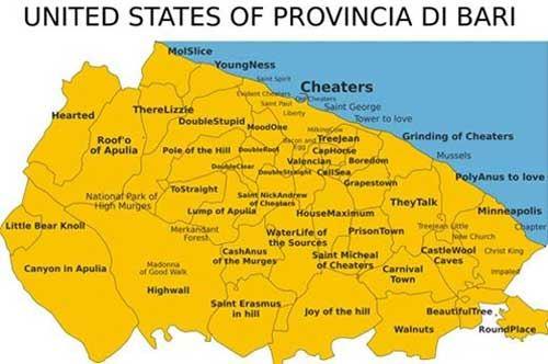 United States of provincia di Bari: la Puglia tradotta per gioco