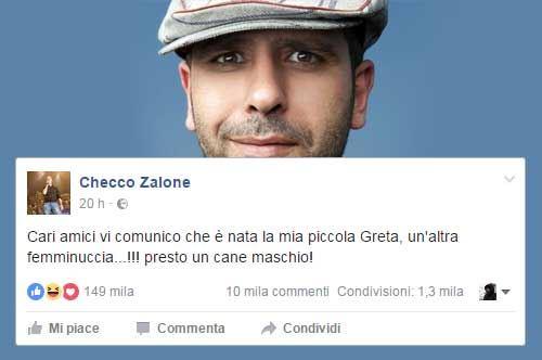 Checco Zalone di nuovo papà: l'annuncio su Facebook