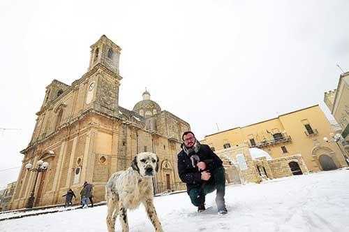 Salento, la magia della neve su Taurisano e Porto Cesareo: video e foto