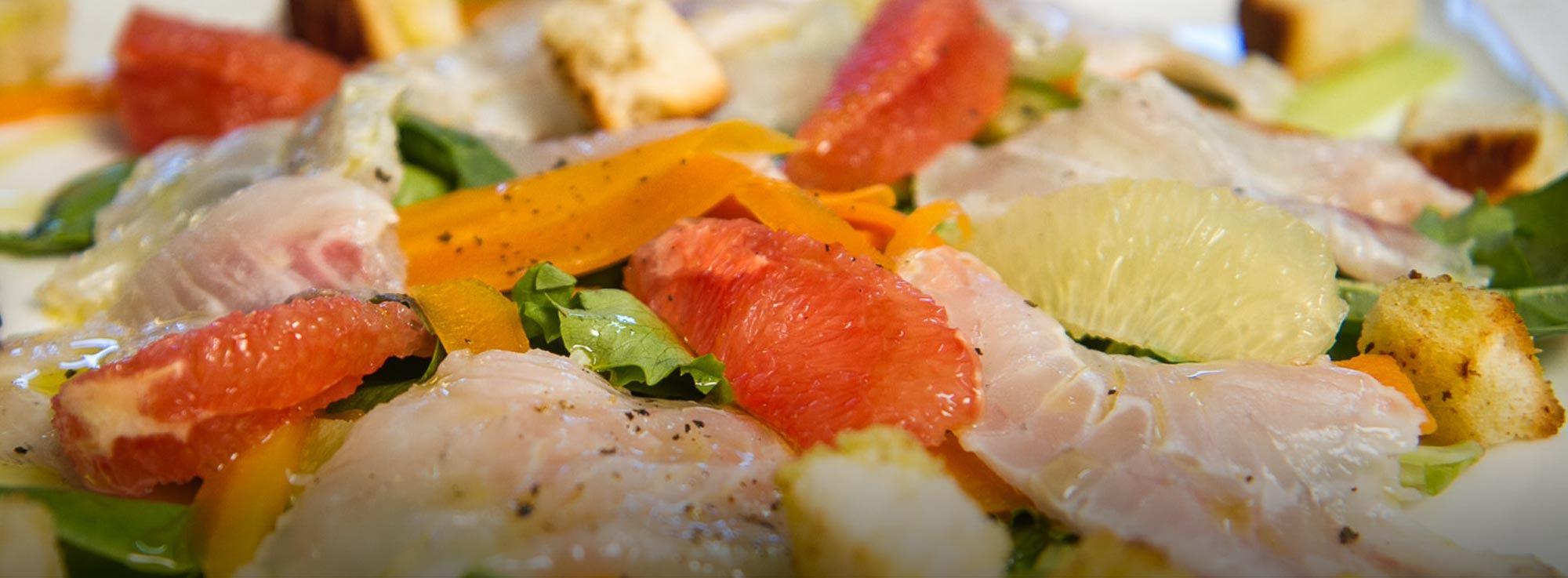 Ricetta: Cialda gustosa e sana con agrumi e carpaccio di Gallinella