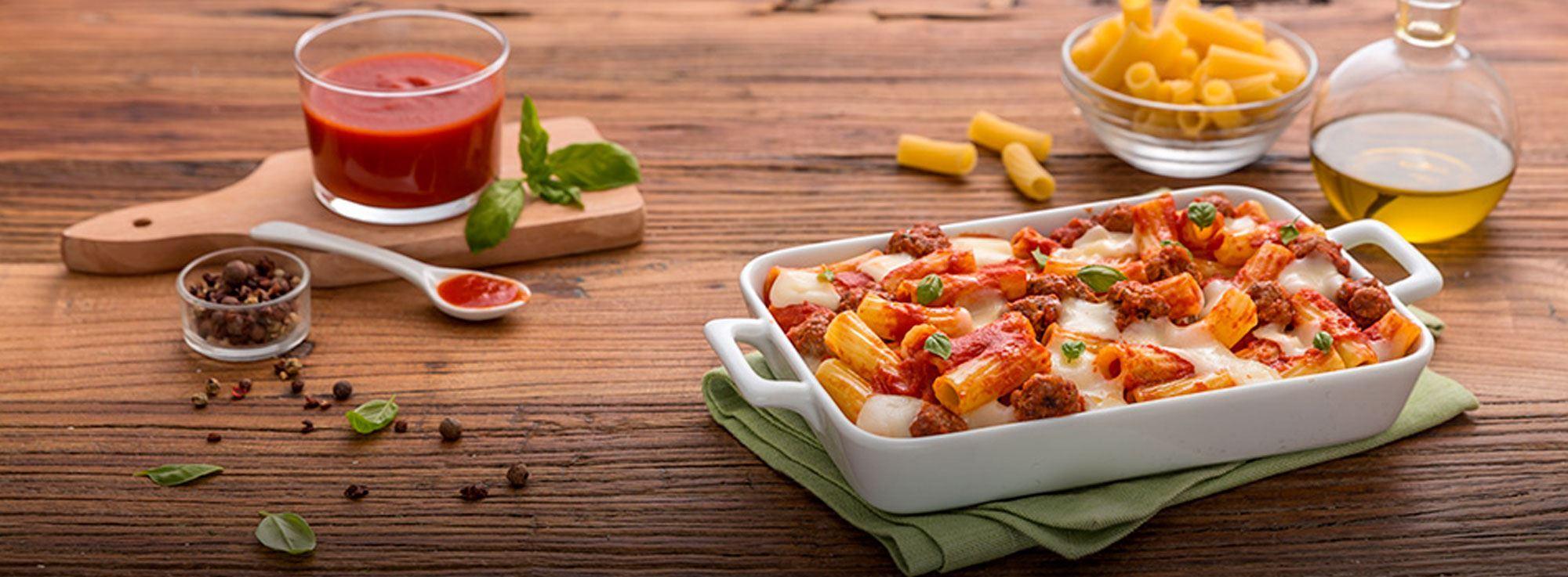 Ricetta: Rigatoni al forno con polpettine di carne