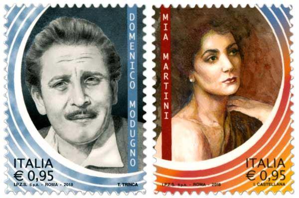 Domenico Modugno protagonista del francobollo sui grandi dello spettacolo