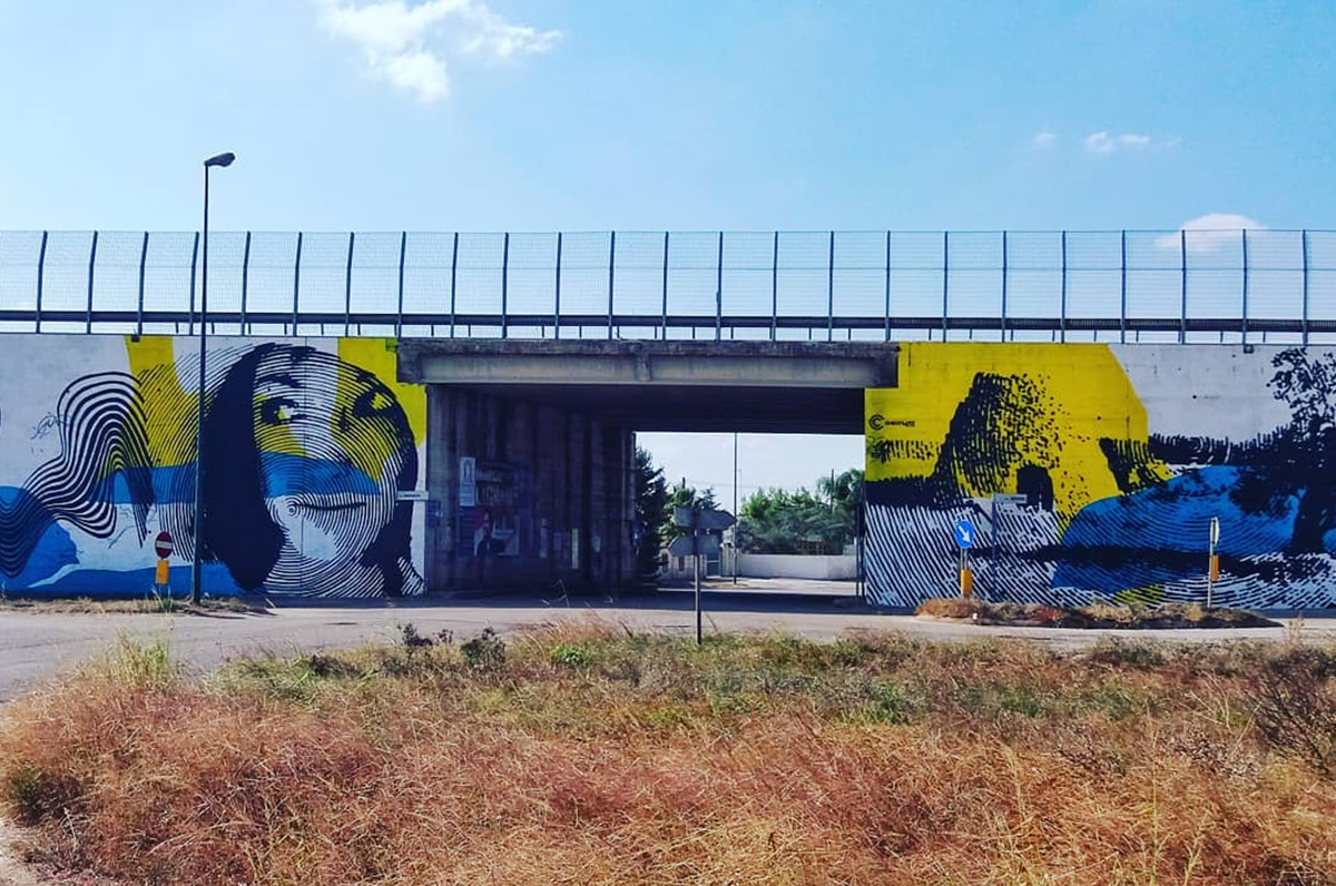 Murale a Collemeto, l'Anas e Chekos'Art uniscono passato e futuro