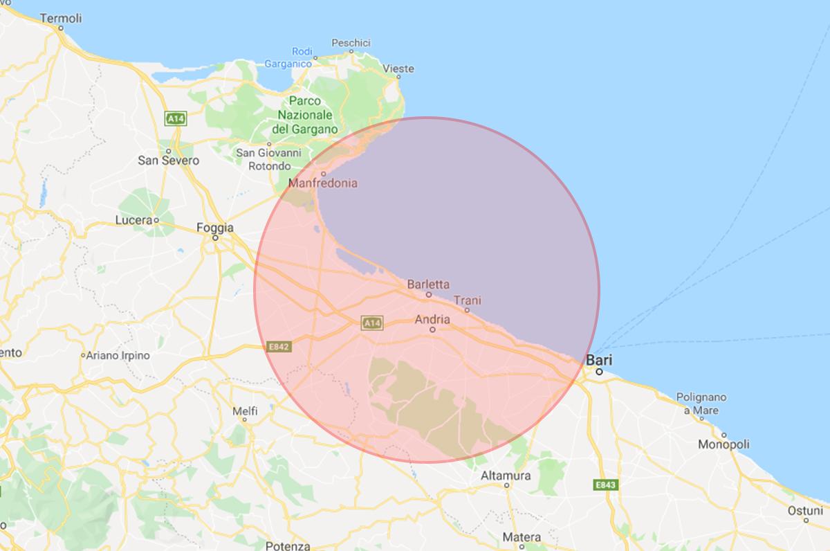 Terremoto in Puglia: forte scossa con epicentro a Barletta