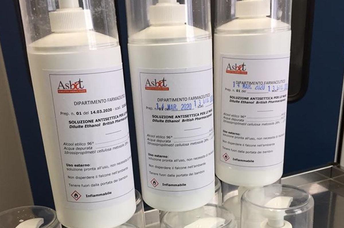 Asl Bt, autoproduzione di disinfettanti e kit di protezione
