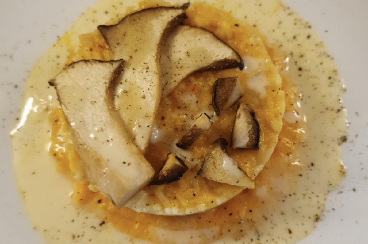 Risotto con zucca, fungo cardoncello e caciocavallo di Martina Franca