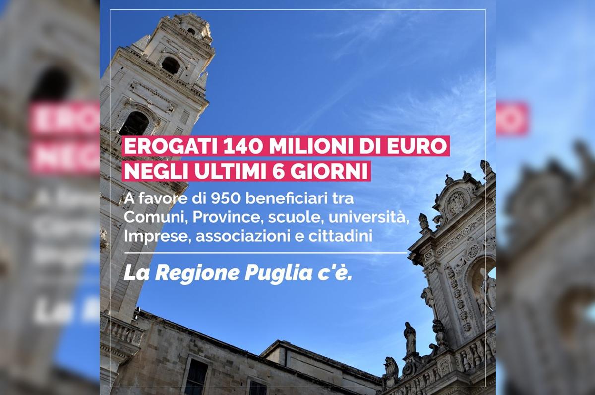 Regione Puglia, negli ultimi 7 giorni eroga 140 milioni di euro